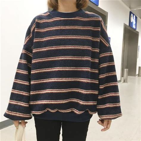 Kalung Korea Vintage Black itgirl shop vintage retro wool knit stripes oversized o neck sweaters