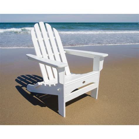 White Plastic Patio Chairs Shop Trex Outdoor Furniture Cape Cod Classic White Plastic Folding Patio Adirondack Chair At