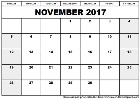 Calendars That Work November 2017 November 2017 Calendar Excel Printable Templates With