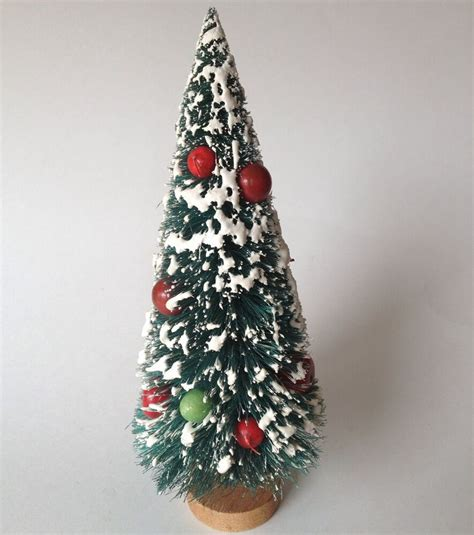 bottle brush christmas trees wholesale vintage 10 quot bottle brush flocked tree fruit wood base ebay