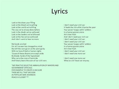 my bloody lyrics honey power civil war by guns n roses ppt