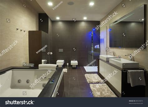 modern house bathroom modern house bathroom interior with simple and expensive furniture stock photo