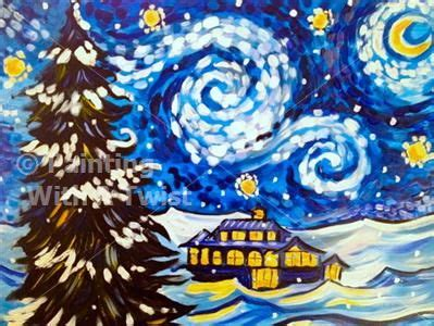 paint with a twist fairport ny starry wine snowy starry fairport ny painting