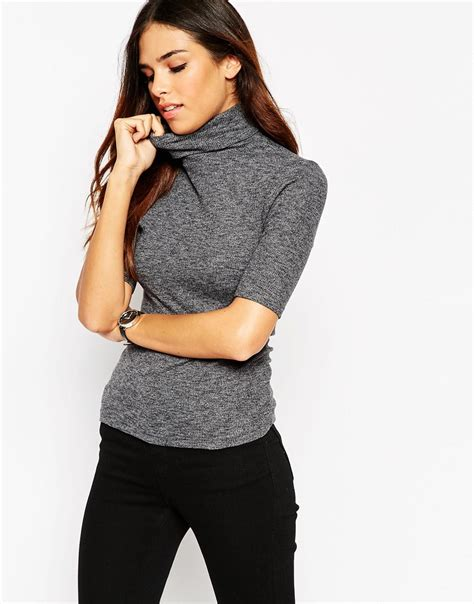 asos turtle neck top in textured rib with sleeve grey in gray lyst