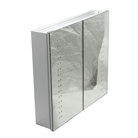 Bathroom Illuminated Mirror Cabinet Foxhunter Led Illuminated Mirror Bathroom Cabinet Steel Storage Cupboard Sensor Ebay