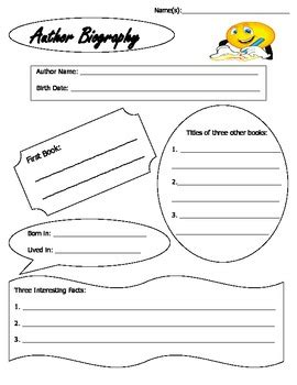 simple biography graphic organizer author biography research organizer guide sheet with