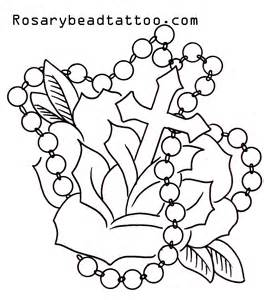 flower with roseary stencils rosary tattoo cross tattoo