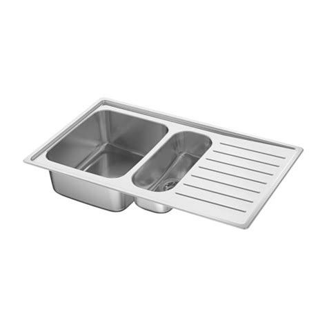 Vattudalen Inset Sink 1 189 Bowl W Drainboard Stainless Kitchen Sinks Ikea