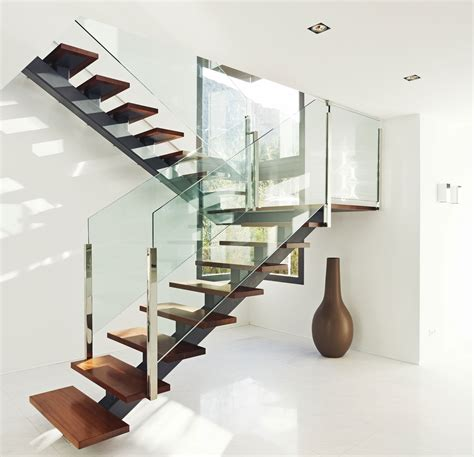 Wood Glass Stairs Design Interior Modern Stairs Designs With Wooden Treads And Glass Railing Excerpt Also Stair Glass
