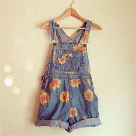 pattern blue overalls dress dungarees daises yellow denim short floral