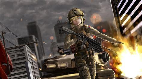 anime girl fantasy soldier wallpaper anime wallpaper background full hd wallpaper soldier explosion tank megapolis