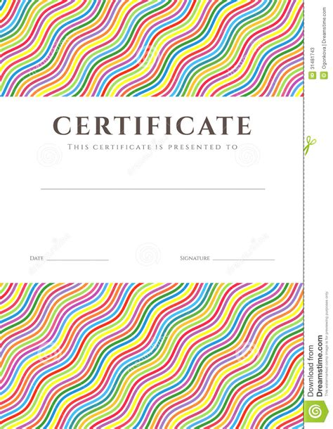 colorful certificate template colorful certificate diploma background template stock