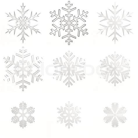 Shop Decoration For Christmas - set isolated white transparent snowflakes on white background stock photo colourbox