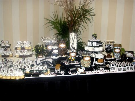 Black An White Candy Table For A 50th Birthday Party Men Black And White Buffet