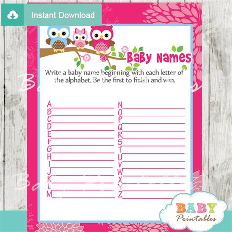 theme names for baby shower hot pink owl family baby shower games d120 baby printables