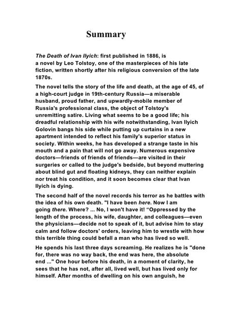 What Is Tolstoy Essay by Leo Tolstoy The Of Ivan Ilyich Summary