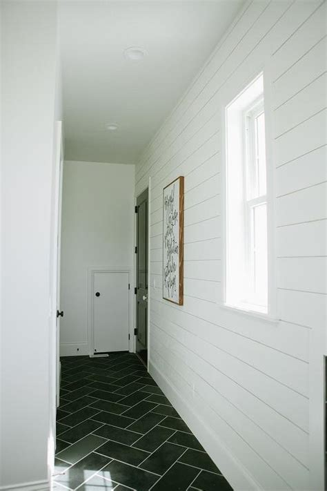 Tile Shiplap White Shiplap Mudroom With Gray Slate Herringbone Floor