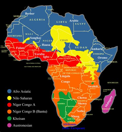 africa map of languages map of the distribution of languages nations