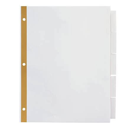 Office Depot Brand Insertable Dividers With Big Tabs White Clear Tabs 5 Tab By Office Depot Office Depot Big Tabs Insertable Template