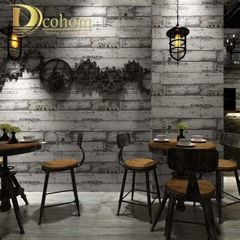 Non Woven Vintage Wallpaper Industrial Letters Wood Panel