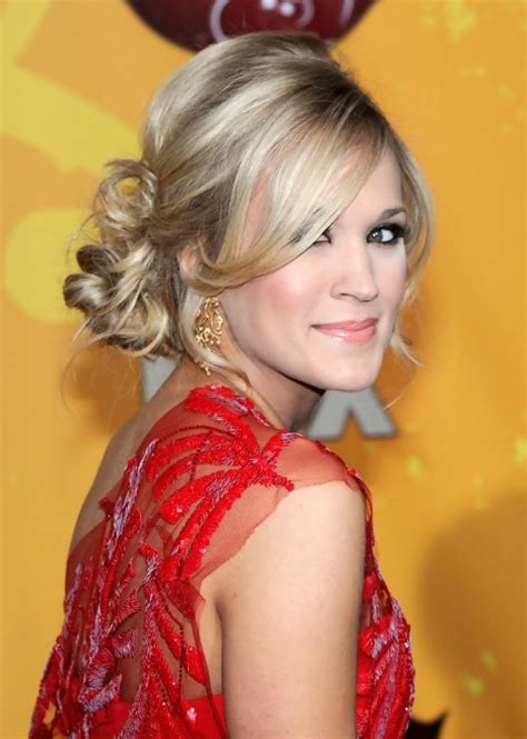 Carrie Underwood Updo Hairstyles by Carrie Underwood Bun Updo Hairstyle With Side Bangs