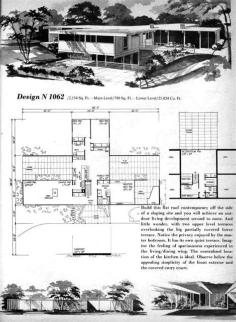 mid century modern homes floor plans mid century modern houseplans
