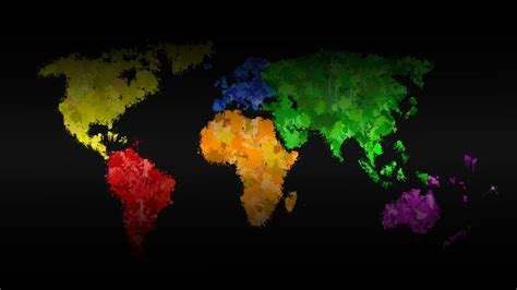 Multicolor digital art world map wallpaper   (13750)