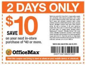 Office Max Coupons Office Max Coupon 10 40 Purchases
