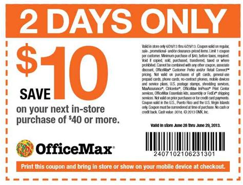printable tickets at office max office max coupon 10 off 40 purchases