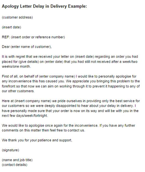 Apology Letter To Customer For Delay Apology Letter Delay In Delivery Exle Just Letter Templates