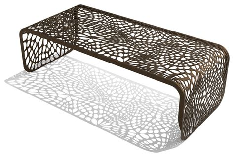 Modern Metal Outdoor Coral Coffee Table Burnished Bronze Modern Outdoor Coffee Table