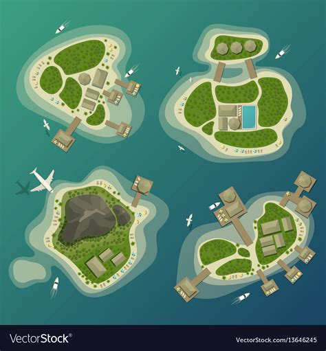 Tropical Top tropical islands top view travel and tourism sign vector image