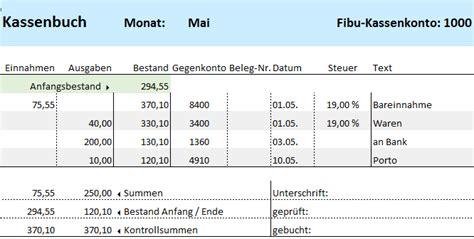 Kostenlose Vorlage Kassenbuch Muster Excel Kassenbuch