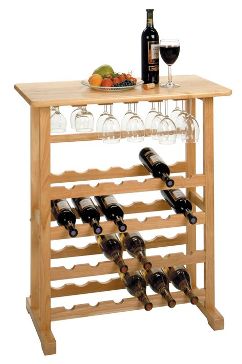 Wine Bottle Rack by Winsome 24 Bottle Wine Rack With Glass Rack By Oj Commerce
