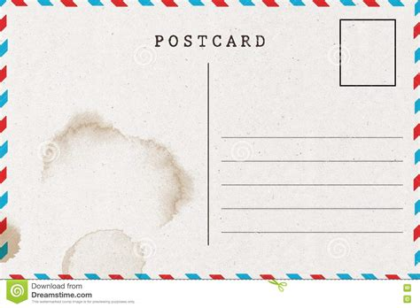 backside of blank postcard with stain stock illustration