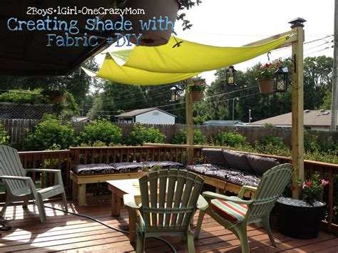 creating an outdoor patio create a simple fabric sail to add shade to your outdoor