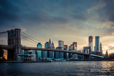 nyc skyline in the sunset v1 photograph by hannes cmarits