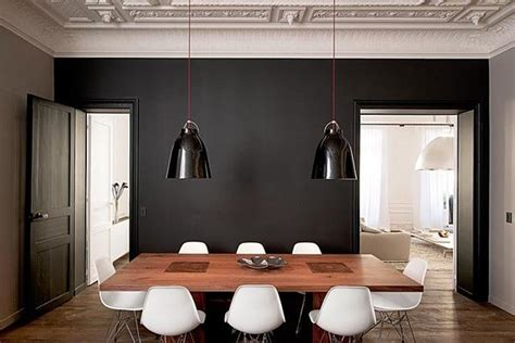 Dining Room With Black Accent Wall Black Accent Wall Paint Home Dining Rooms