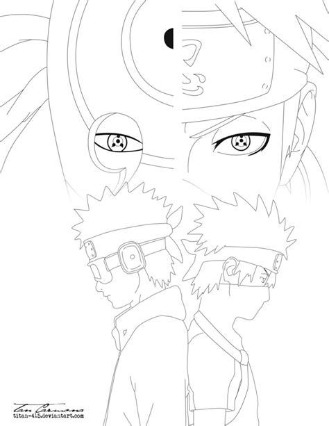 imagenes para dibujar kakashi obito and kakashi same eyes lineart by titan 415 on deviantart
