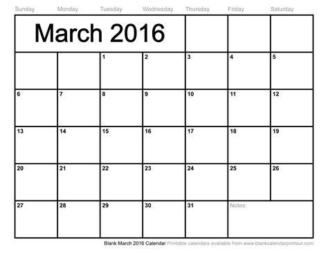 Blank March 2016 Calendar To Print | blank march 2016 calendar to print