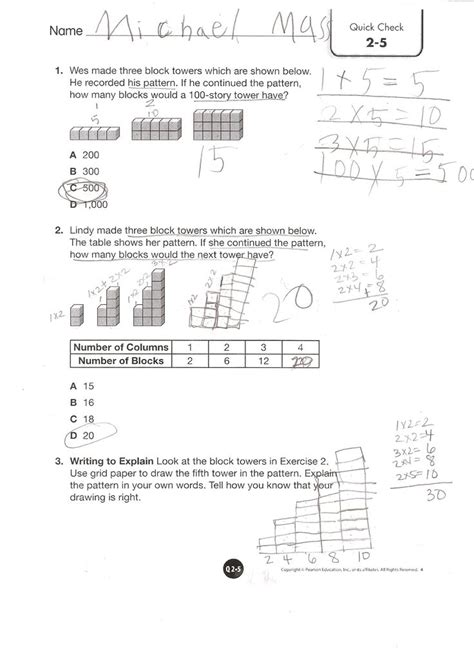 Envision Math 4th Grade Worksheets by Envision Math Grade 4 Topic 2 5 Check Envision 4th