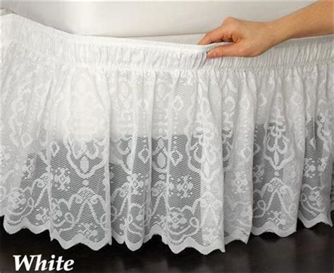 white bed skirt queen wrap around white lace bed skirt ruffle fits twin full