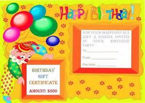 Birthday Certificate Templates Free Printable Birthday Gift Certificate Templates