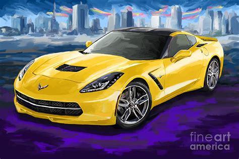 gilliland chevrolet yellow corvette painting by tim gilliland