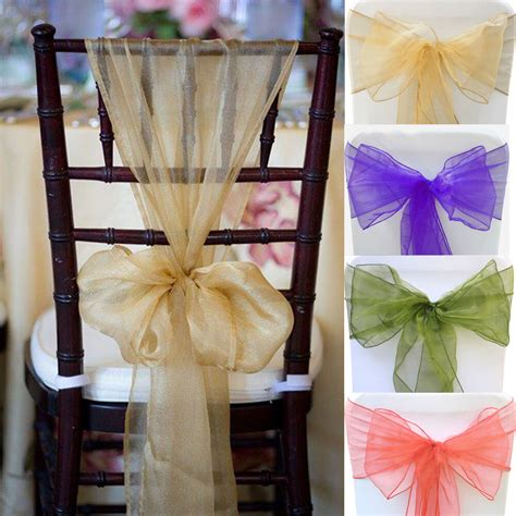 chair cover bows for weddings 100pcs 28 colors organza chair sashes bow cover wedding