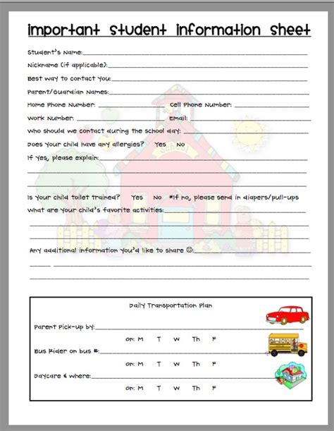 parent contact form template information sheet creating teaching