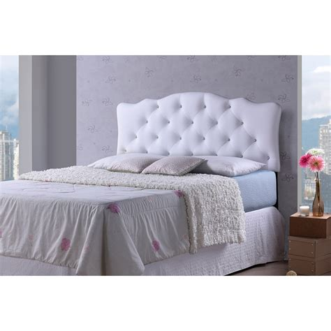 Button Tufted Headboard Baxton Studio Modern And Contemporary Size White Faux Leather Upholstered Button