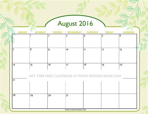 printable mom planner 2016 pretty printable calendars for august 2016