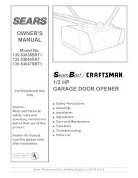 Craftsman Garage Door Opener Repair Manual 139 53535srt1 Craftsman 1 2 Hp Garage Door Opener