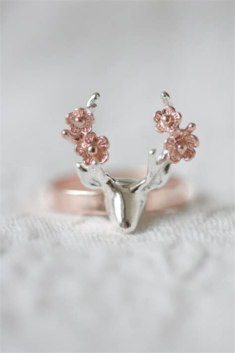 Rings With Flowers by Flower Deer Ring Gold Deer Ring Antler Ring Flower